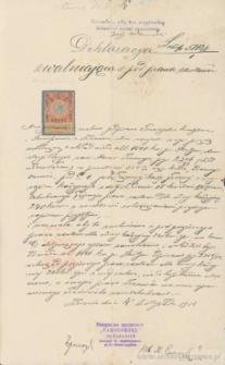 Anastazja Borysz (?), zam. Nazar - Deklaracja zwalniająca z por. prawa zastawu
