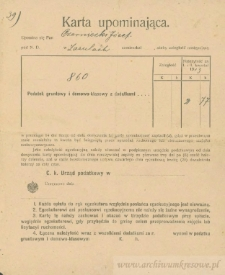 Józef Czerniecki - Karta upominająca