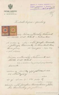 Józef Czerniecki, Jadwiga Czerniecka - Kontrakt kupna i sprzedaży