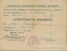 Józef Czerniecki - Legitymacya osobista