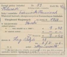 Franciszek Czerniecki - dowód opłaty ubezpieczenia budynków (I i II rata)