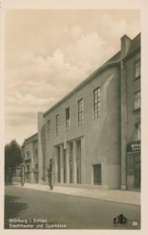 Zielona Góra / Grünberg i. Schles.; Stadttheater und Sparkasse