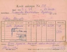 Franciszek Czerniecki - Kwit zakupu Nr 509