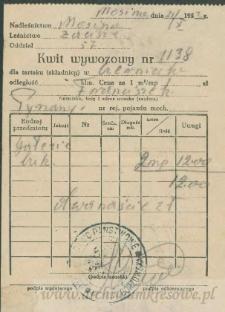 Franciszek Czerniecki - Kwit wywozowy nr 1138