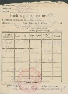 Franciszek Czerniecki - Kwit wywozowy nr 191