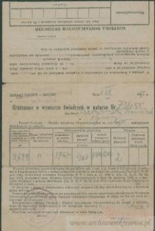 Franciszek Czerniecki - Orzeczenie o wymiarze świadczeń w naturze Nr 731/55