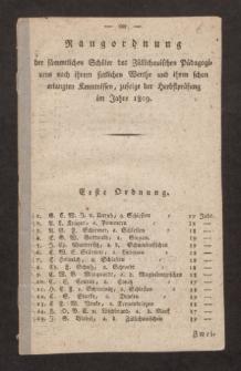 Rangordnung der sämmtlichen Schüler des Züllichauischen Pädagogiums nach ihrem sittlichen Werthe, und ihren schon erlangten Kenntnissen, zufolge der Herbstprüfung im Jahre 1809