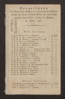 Rangordnung der sämmtlichen Schüler des Züllichauischen Pädagogiums nach ihrem sittlichen Werthe und ihren schon erlangten Kenntnissen, zufolge der Prüfung zu Ostern 1822
