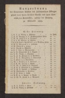 Rangordnung der sämmtlichen Schüler des Züllichauischen Pädagogiums nach ihrem sittlichen Werthe und ihren schon erlangten Kenntnissen, zufolge der Prüfung zu Michaelis 1823