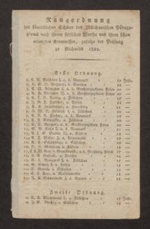Rangordnung der sämmtlichen Schüler des Züllichauischen Pädagogiums nach ihrem sittlichen Werthe und ihren schon erlangten Kenntnissen, zufolge der Prüfung zu Michaelis 1822