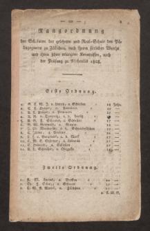 Rangordnung der Scholaren der gelehrten und Real. Schule des Pädagogiums zu Züllichau, nach ihrem sittlichen Werthe und ihren schon erlangten Kenntnissen, nach der Prüfung zu Michaelis 1808