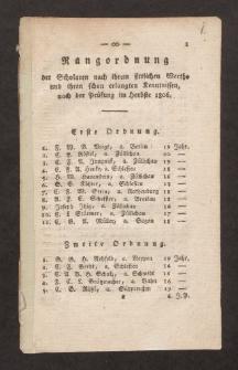 Rangordnung der Scholaren nach ihrem sittlichen Werthe und ihren schon erlangten Kenntnissen, nach der Prüfung im Herbste 1806