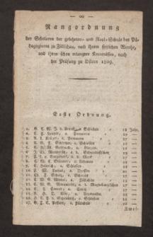 Rangordnung der Scholaren der gelehrten- und Real-Schule des Pädagogiums zu Züllichau, nach ihrem sittlichen Werthe, und ihren schon erlangten Kenntnissen, nach der Prüfung zu Ostern 1809