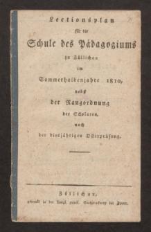 Lectionsplan für die Schule des Pädagogiums zu Züllichau im Sommerhalbenjahre 1810