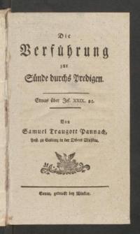 Die Verfuhrung zur Sunde durchs Predigen : Etwas uber Jes. XXIX. 21