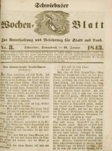 Schwiebuser Wochen=Blatt, No. 3 (Sonnabend; den 21. Januar)