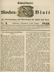 Schwiebuser Wochen=Blatt, No. 4 (Sonnabend; den 28. Januar)