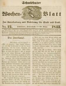 Schwiebuser Wochen=Blatt, No. 12 (Sonnabend; den 25. März)
