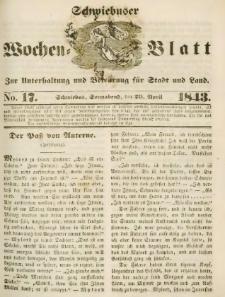 Schwiebuser Wochen=Blatt, No. 17 (Sonnabend; den 29. April)