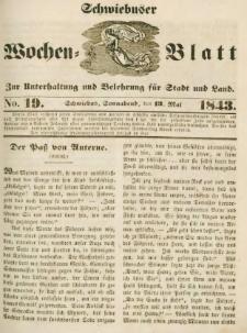 Schwiebuser Wochen=Blatt, No. 19 (Sonnabend; den 13. Mai)