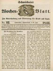 Schwiebuser Wochen=Blatt, No. 27 (Sonnabend; den 8. Juli)