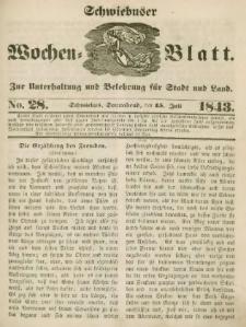Schwiebuser Wochen=Blatt, No. 28 (Sonnabend; den 15. Juli)