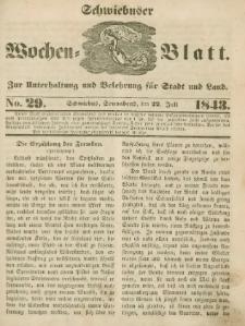 Schwiebuser Wochen=Blatt, No. 29 (Sonnabend; den 22. Juli)
