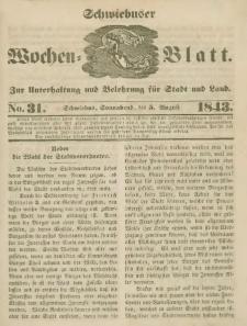 Schwiebuser Wochen=Blatt, No. 31 (Sonnabend; den 5. Augußt)