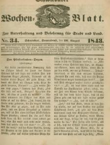 Schwiebuser Wochen=Blatt, No. 34 (Sonnabend; den 26. Augußt)
