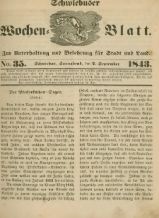 Schwiebuser Wochen=Blatt, No. 35 (Sonnabend; den 2. September)