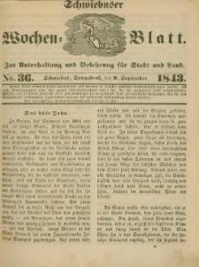 Schwiebuser Wochen=Blatt, No. 36 (Sonnabend; den 9. September)