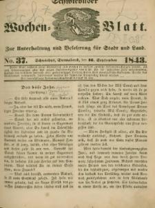 Schwiebuser Wochen=Blatt, No. 37 (Sonnabend; den 16. September)