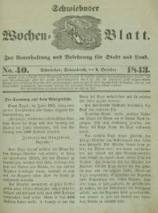 Schwiebuser Wochen=Blatt, No. 40 (Sonnabend; den 7. October)