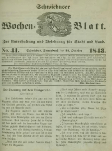 Schwiebuser Wochen=Blatt, No. 41 (Sonnabend; den 14. October)