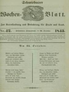 Schwiebuser Wochen=Blatt, No. 42 (Sonnabend; den 21. October)