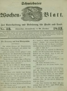 Schwiebuser Wochen=Blatt, No. 43 (Sonnabend; den 28. October)