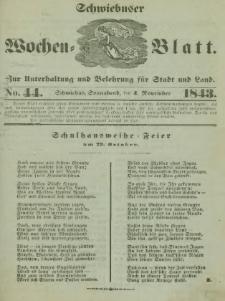 Schwiebuser Wochen=Blatt, No. 44 (Sonnabend; den 4. November)