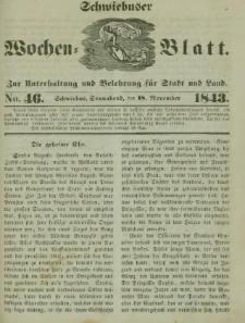 Schwiebuser Wochen=Blatt, No. 46 (Sonnabend; den 18. November)