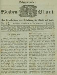 Schwiebuser Wochen=Blatt, No. 47 (Sonnabend; den 25. November)