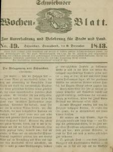 Schwiebuser Wochen=Blatt, No. 49 (Sonnabend; den 9. December)
