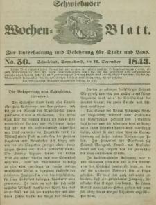 Schwiebuser Wochen=Blatt, No. 50 (Sonnabend; den 16. December)