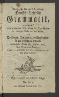 Kurzgefasste und deutliche Deutsch-Polnische Grammatik
