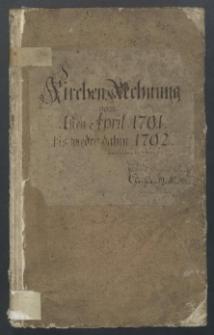 Kirchen Rechnung vom 1791-1792