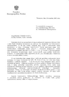 [List gratulacyjny Prezydenta Rzeczypospolitej Polskiej z okazji pierwszej inauguracji roku akademickiego na Uniwersytecie Zielonogórskim]