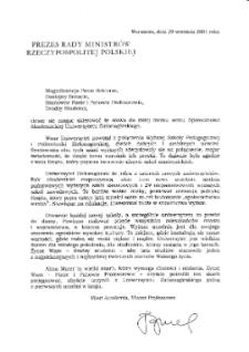 [List gratulacyjny Prezesa Rady Ministrów Rzeczypospolitej Polskiej z okazji pierwszej inauguracji roku akademickiego na Uniwersytecie Zielonogórskim]