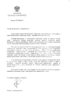 [List gratulacyjny Ministra Edukacji Narodowej z okazji pierwszej inauguracji roku akademickiego na Uniwersytecie Zielonogórskim]
