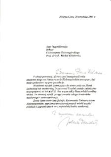 [List gratulacyjny Senator Rzeczypospolitej Polskiej z okazji pierwszej inauguracji roku akademickiego na Uniwersytecie Zielonogórskim]