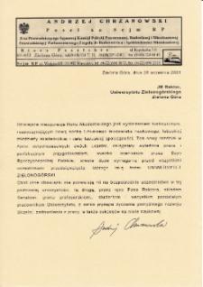 [List gratulacyjny posła na Sejm Rzeczypospolitej Polskiej z okazji pierwszej inauguracji roku akademickiego na Uniwersytecie Zielonogórskim]