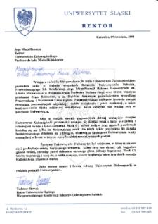 [List gratulacyjny w imieniu wszystkich Rektorów Uniwersytetów Polskich z okazji pierwszej inauguracji roku akademickiego na Uniwersytecie Zielonogórskim]