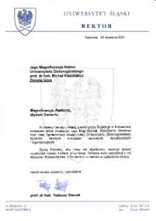 [List gratulacyjny Rektora Uniwersytetu Śląskiego z okazji pierwszej inauguracji roku akademickiego na Uniwersytecie Zielonogórskim]